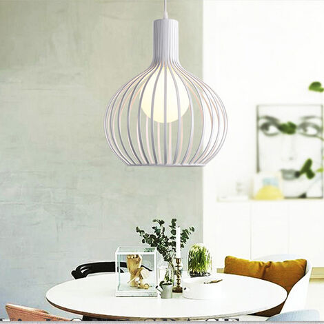 20cm Vintage Pendant Light Fixture Industrial Metal Cage Ceiling Light E27 for Office Bedroom Indoor Decoration White