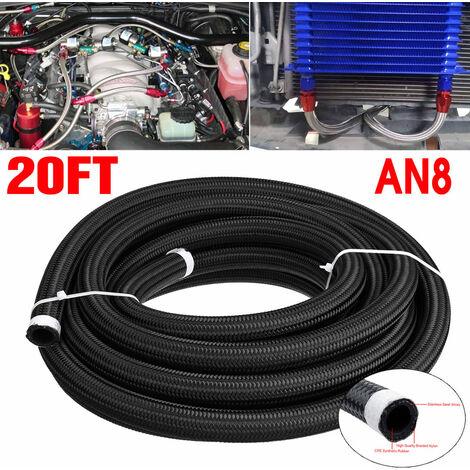 20FT AN8 Tuyau de carburant de voiture Ligne de gaz de pétrole Acier inoxydable en nylon tressé noir (AN8)