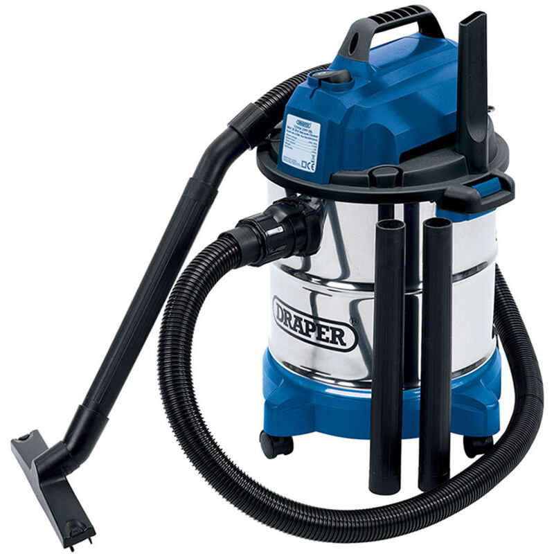 13785 20L Wet and Dry Vacuum Cleaner with Stainless Steel Tank 1250W 230V - Draper
