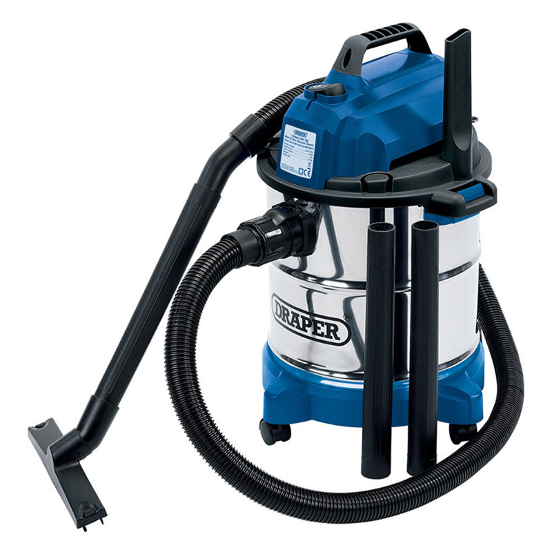Draper - 20L 1250W 230V Wet and Dry Vacuum Cleaner with Stainless Steel Tank