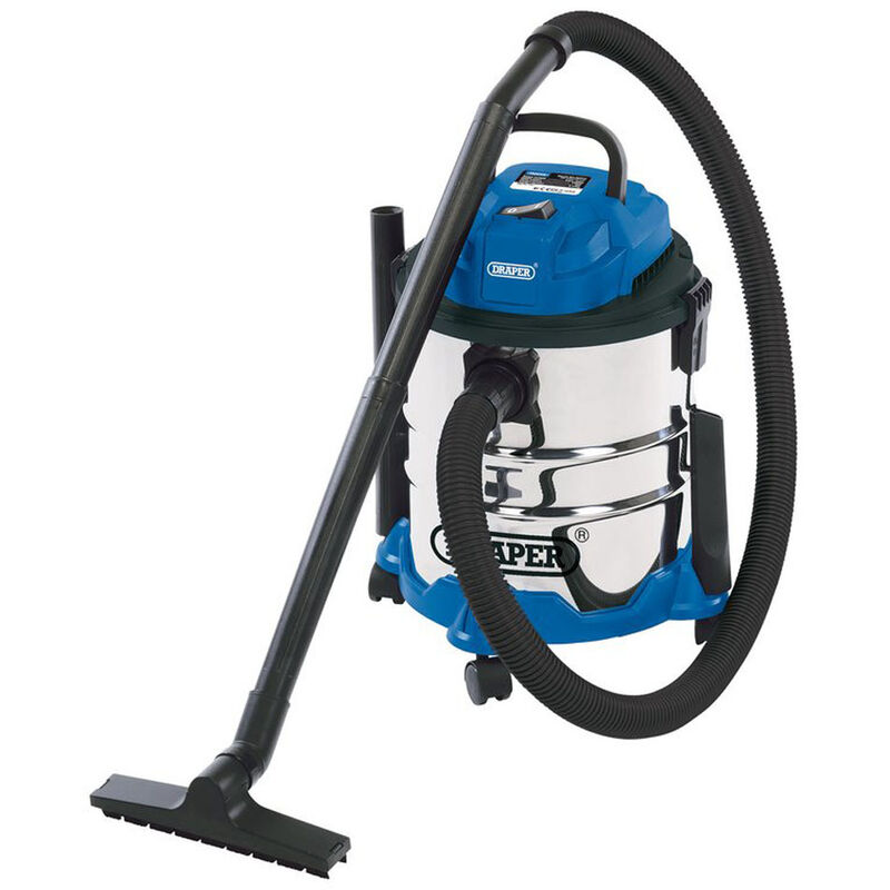 20515 20L Wet and Dry Vacuum Cleaner with Stainless Steel Tank (1250W) - Draper