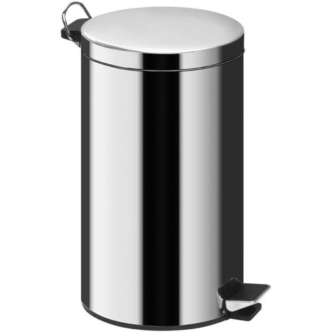 20Ltr Pedal Bin,Mirror Polished Stainless Steel,Inner Plastic Bucket