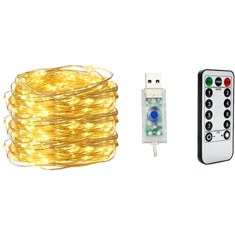 20M 200 Lights USB String Light Copper Wire Warm White 8 Modes Remote Control Christmas Tree Decoration