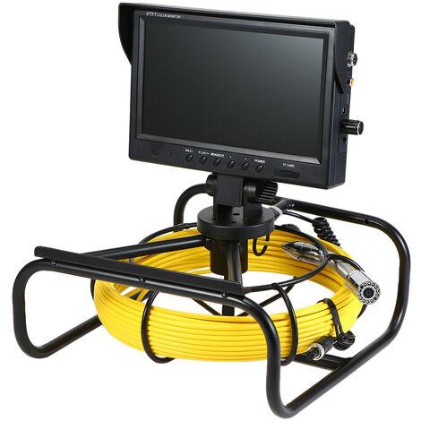 """main image of """"20M Pipeline Endoscopio Camara de inspeccion de tuberias Camara de alcantarillado Monitor de color de 9 pulgadas 12 LED Vision nocturna IP68 Bateria recargable impermeable de 4500 mAh, negro y amarillo, enchufe de la UE"""""""