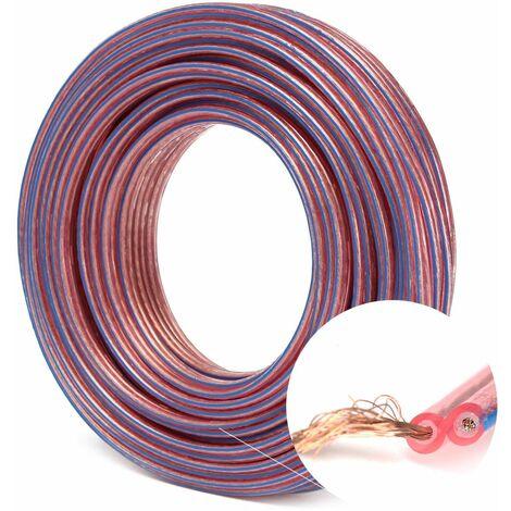 20m Qualité Haut-Parleur Bobine Cable 2x 0.75mm Audio HiFi Voiture Enceintes
