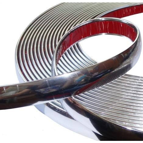 20mm 4.5m Bande baguette adhésive couleur chrome nickel argent