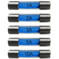 20mm Glass Fuses 1-10 Amp Pack of 10 Universal Quick Blow Type for Car Vehicle