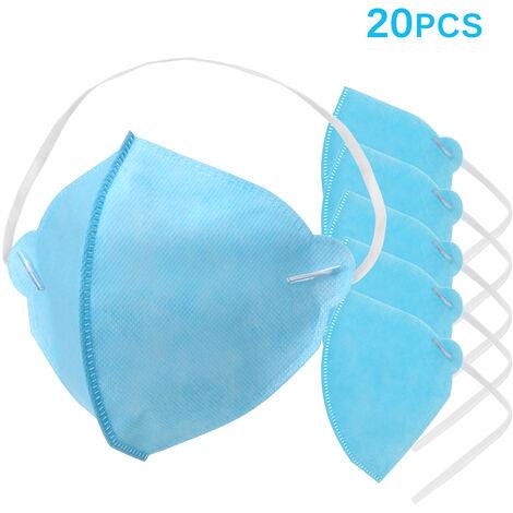 20Pcs 3-Ply Masques De Protection Jetables Visage Respirant Masque Impermeable Bouche Sanitaire