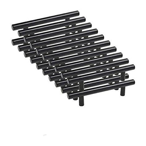 20pcs 96mm Stainless Steel T Bar Black Kitchen Cabinet Door Bar Handle with Screws