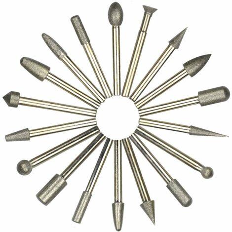 20Pcs Fraises Diamant, grain 180 Fraise Rotative Diamant (Foret/Tête/Pointe Diamantée) avec 6mm Tige, Diamant Burr Bits Percer Verre Métal Gemme (Meulage, Polissage, Gravure de Bricolage)