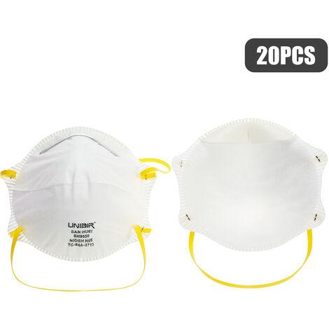 20Pcs Niosh N95 4 Masques Ply Visage Anti-Buee Haze Anti-Poussiere Masques Pour Les Allergies Gaz D'Echappement Pm2.5 Pollen Courir Activites De Plein Air