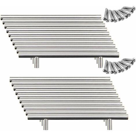 20pcs Poignée Bâton De Porte Cuisine Meuble Placard Inoxydable (128mm (Entraxe de Trous))