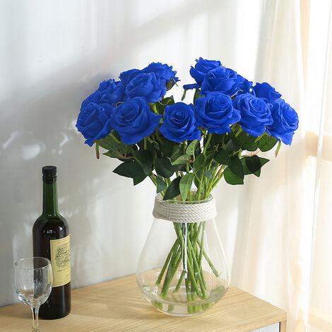 20Pcs Velvet Effect Rose Artificial Flowers Wedding Bride Bouquet Party Flower, Blue