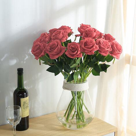 20Pcs Velvet Effect Rose Artificial Flowers Wedding Bride Bouquet Party Flower, Pink