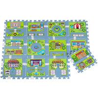 20tlg. Puzzlematte in Straßenspiel Teppich Optik - 12 Matten