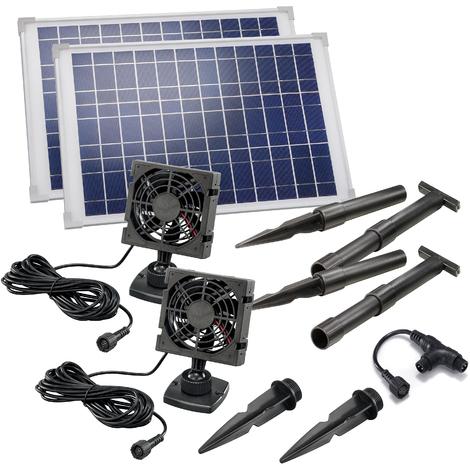 20W Solarlüfter Set DUO Solarventilator Lüfter Belüftungssystem, esotec 101030