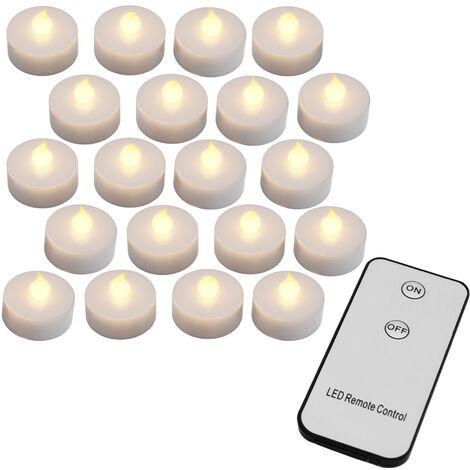 20x flackernde LED Teelichter warmweiß mit Fernbedienung (Ein/Aus) + Batterien - Led Kerzen 20er Set