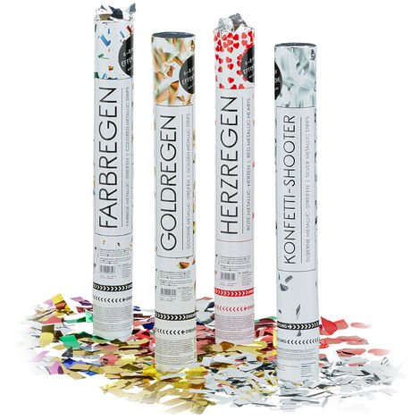 20x Lanceurs confettis mix couleurs 40 cm canons party popper fête décoration mariage cadeau anniversaire portée 6-8 m, plusieurs couleurs métalliques