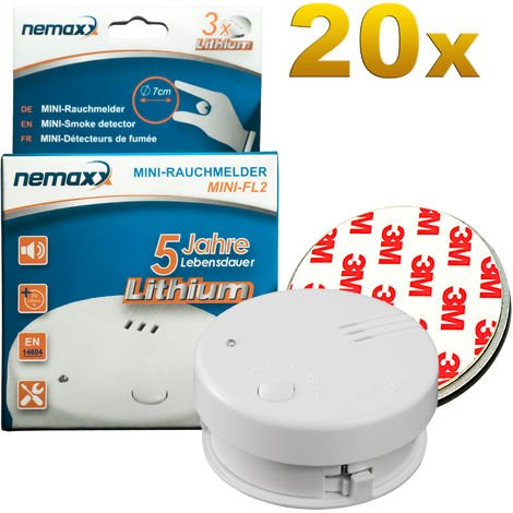 20x Nemaxx Mini-FL2 Rauchmelder - hochwertiger & diskreter Mini Brandmelder Feuermelder Rauchwarnmelder mit Lithium Batterie - nach DIN EN 14604 + 20x Nemaxx Magnetbefestigung