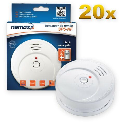 20x Nemaxx SP5-NF Detector de humo de alta calidad con pila incluida de 9V - Blanco