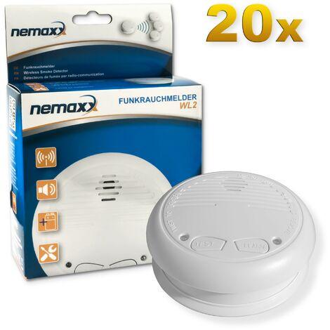 20x Nemaxx WL2 détecteur de fumée sans fil - de haute qualité réseaux couplés radio détecteur d'incendie - selon la norme DIN EN 14604