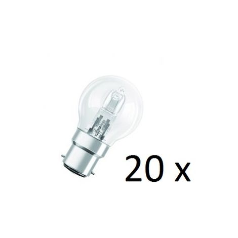 20x Osram Halogen BC-B22 Eco Classic 42W Energy Saver Golf Ball Shape Light Bulb