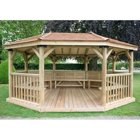 20'x15' (6 x 4.7m) Premium Oval Furnished Wooden Garden Gaxebo with New England Cedar Roof - Seats up to 27 people