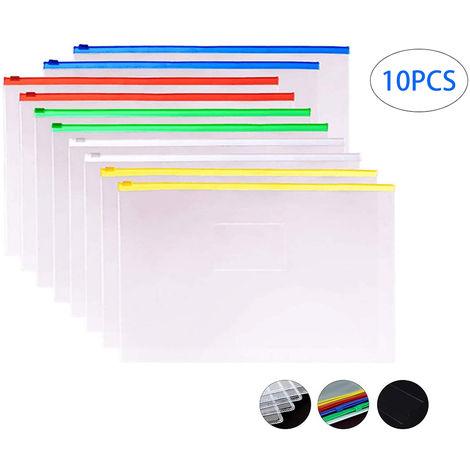 20xA5 Blue Zip Zippy Bags Document portefeuille de rangement transparent en plastique transparent