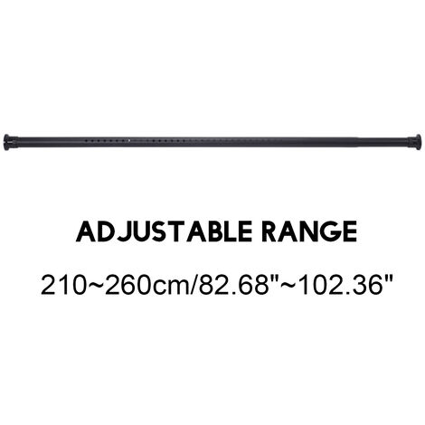2.1-2.6M Extendable Shower Curtain Pole Stainless Steel Rod Bathroom Black