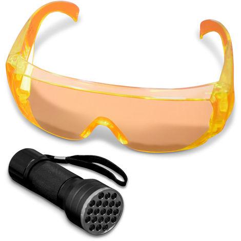 UV Taschenlampe mit Schutzbrille KFZ Klimaanlage Lecksuch Lampe Set