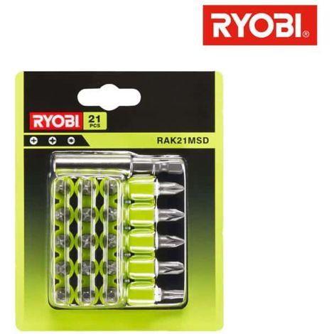 21 RYOBI screwing accessories with RAK21MSD storage racks