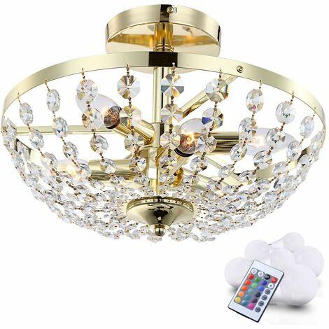 21 vatios RGB LED luz de techo de lujo araña de cristal cambio de color iluminación