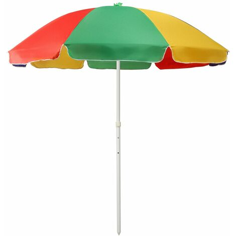 210D Oxford Cloth 2.4m / 2m Umbrella Outdoor Surface Beach Umbrella UV Protection Market Table Parasol Cover (Rainbow, 2.4M Umbrella with Stand-Rainbow)