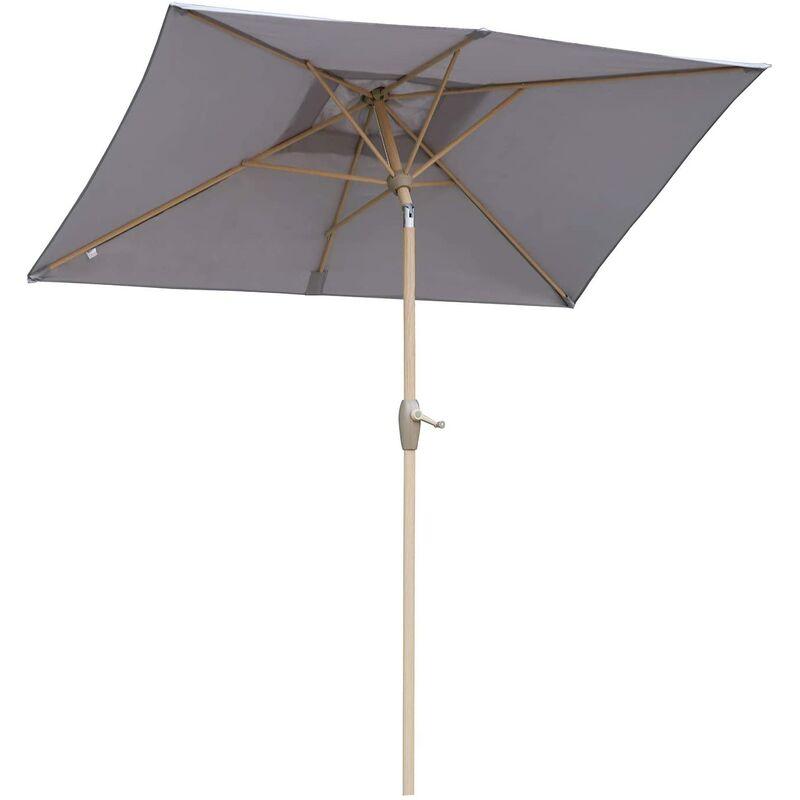 210x140cm Parasol UV50+ Rectangulaire, Gris Clair