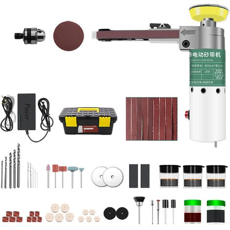 """main image of """"211pcs 100W Mini Electric Belt Sander Electric Grinder Polisher Abrasive Belt Tool 7-Speed Small Handheld Grinding Machine with Sanding Belts Drill Bit Abrasive Cutting Wheel 10-inch Tool Box Full Accessory Kit"""""""