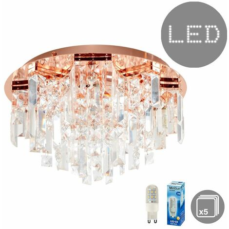 21225 Prague Copper Ceiling Light + 5x3w LED G9 Bulb