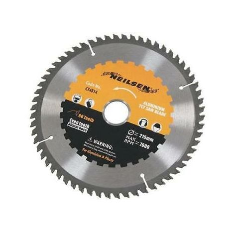 215mm 60 tooth TCT Saw Blade. Cuts Aluminium & More