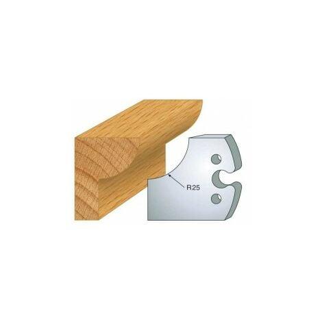 219 : jeu de 2 fers 50 mm 1/4 de rond 25 mm pour porte outils 50 mm