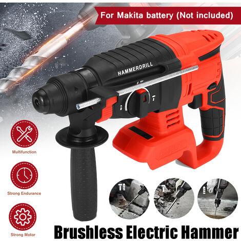 21V Brushless 4 Functions Flat Drill Bit, Hammer Mode, Shovel Mode, Calibration Mode, Rotary Hammer Drill 1400 / min Demolition Kit Cordless Drill Power Tools For Makita Battery (Not Included)