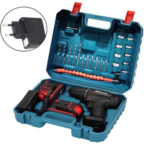 21Vf Menage Multifuctional Perceuse Electrique Mini Tournevis Rotation Vitesses Moyens Reglables Avec Deux Torques Batteries