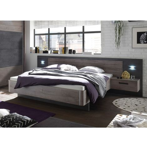 "22-510-N9 PALMA Havel Eiche Nb. / Betonoxid grau Bett Doppelbett Ehebett Bettanlage inkl. 2 Nachtkom-""SW13163"""