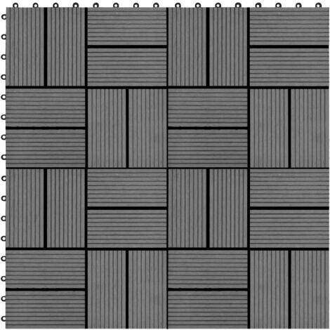 22 pcs Decking Tiles 30x30 cm 2 sqm WPC Grey