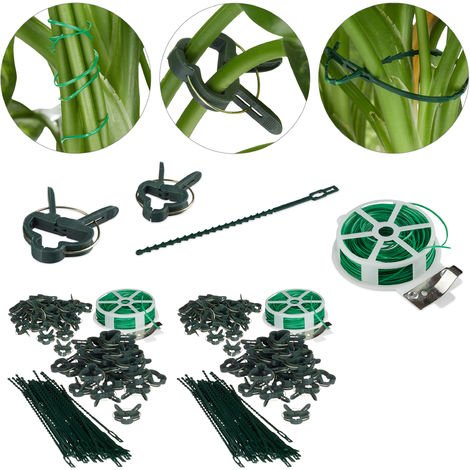 220-Pc Set, Plant Growing Supports, Stable Plant Clips, Twist Ties, Binding Wire Reel with Cutter, Green