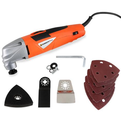 220 Watt Outil multifonctions avec de nombreux accessoires (21.000 tr/mn, Vitesse réglable, Fixation de scie, Plaque de ponçage et Feuilles de ponçage) Oscillant