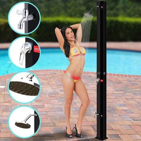 220 x 16,5 x 16,5 cm - Solar shower Black 35L Outdoor shower Camping shower