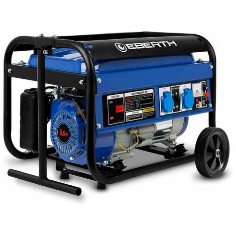 2200 W Generador de corriente con chasis (Motor de gasolina de 4 tiempos y 5,5 CV, 2x 230 V, 1x 12 V, Regulación de voltaje AVR, Seguridad por falta de aceite, Voltímetro) Grupo electrógeno