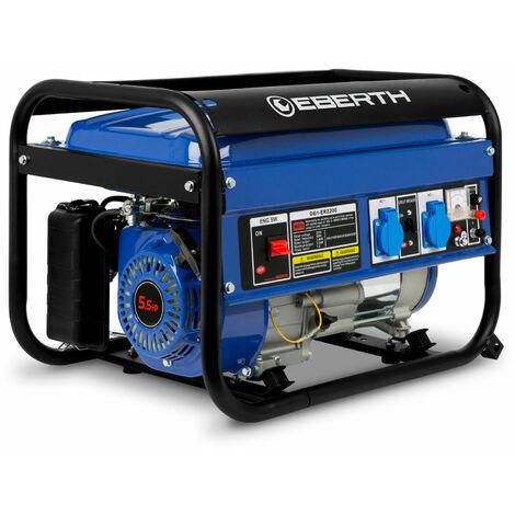2200 W Generador de corriente (Motor de gasolina de 4 tiempos y 5,5 CV, Refrigerado por aire, 2x 230 V, 1x 12 V, Arranque rectractil, Regulación de voltaje AVR, Seguridad por falta de aceite, Voltímetro) Grupo electrógeno