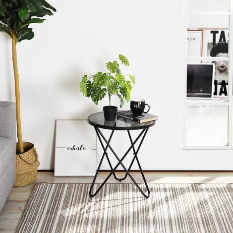2208 Petite Table basse ronde en Verre Table d'appoint 45 * 45 * 50cm