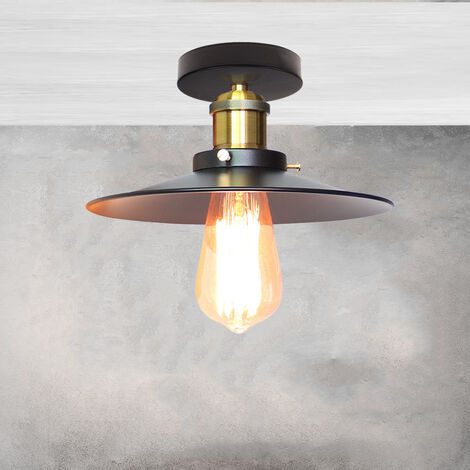 """main image of """"Ø220mm Antique Industrial Ceiling Lamp Iron Metal Lamp Shade Ceiling Light Creative Chandelier E27 Socket for Office Dining Room Cafe Bar Restaurant (Black)"""""""
