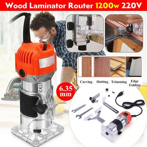 """220V 1200W 1/4 """"tondeuse à main électrique bois laminateur routeur menuisiers ensemble d'outils (prise EU 3500W boitier en aluminium)"""